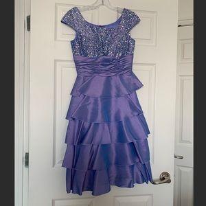 Periwinkle Modest Knee-Length Prom Dress